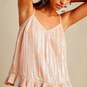 NWT Anthropologie Peach Pink Sequined Swing Top 14